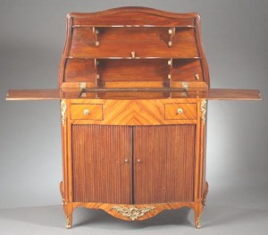 French Rosewood Serving Cabinet Open