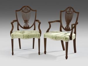Hepplewhite Mahogany Shield Back Dining Chairs