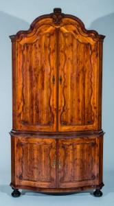 Dutch Yew Wood Corner Cabinet