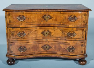 German Walnut Inlaid Commode