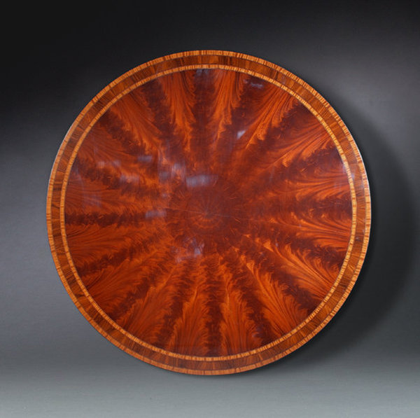 Flame Grained Mahogany Six Foot Round Dining Table