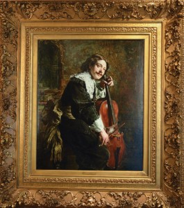 Musician With Cello Painting