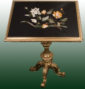 Gold Leaf Pedestal Table